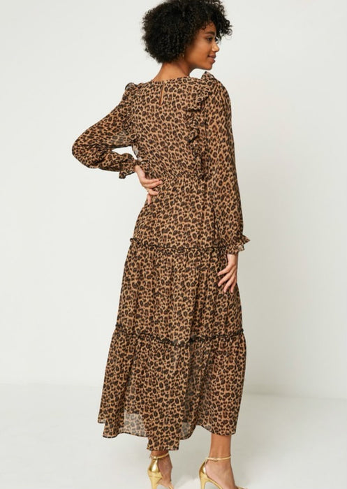 Roaring Ruffles Maxi Dress - Brown