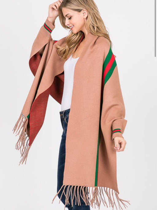 Striped Sleeve Wrap Camel - *PRE-ORDER 12/18