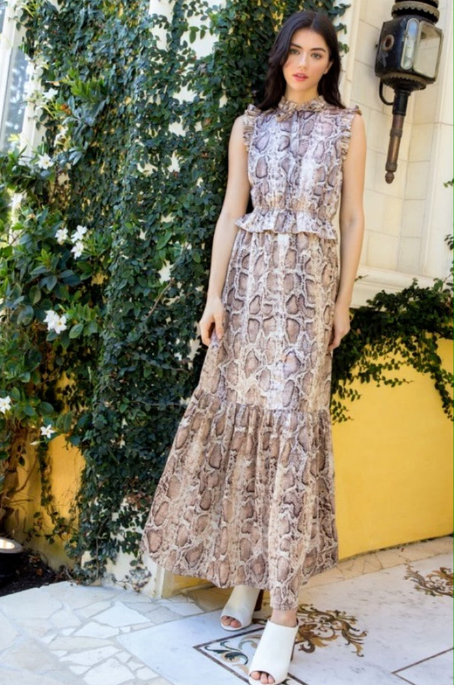 She's a Sly One Snakeskin Maxi Dress