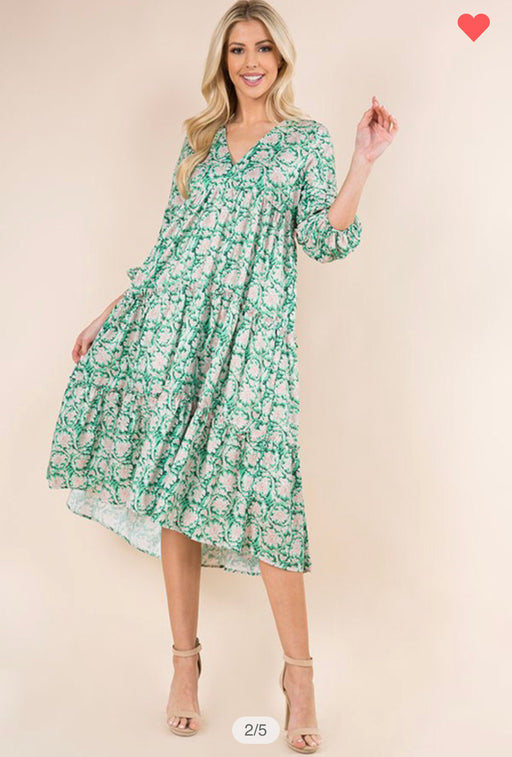 Green Envy Floral Dress