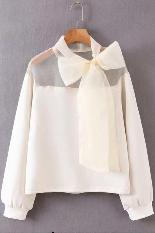 Bow Sweatshirt Top - Ivory