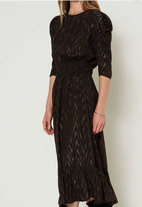 Metallic Chevron Midi Dress - Black/Bronze