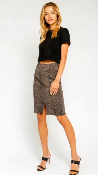 Stretchy Grey Snake Midi Skirt