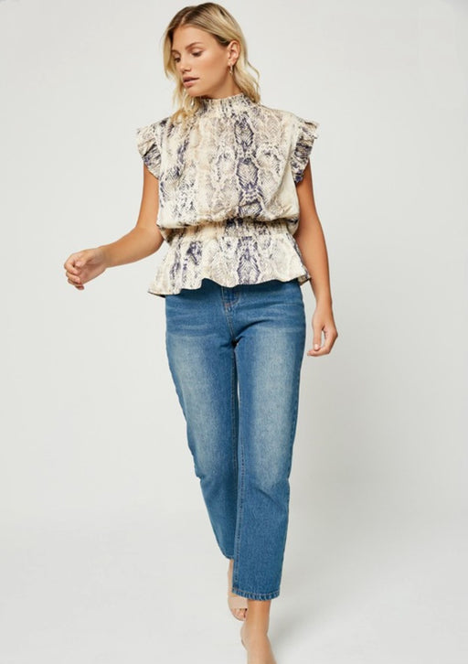 Snakeskin Smock Neck Top