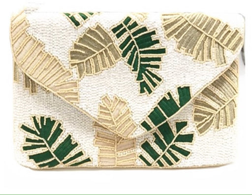 Peppy Palm Beaded Clutch