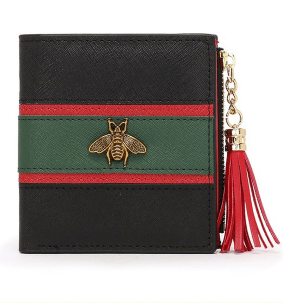 Bee Striped Leather Wallet