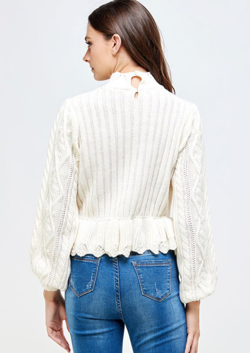 Winter White Delight Peplum Sweater