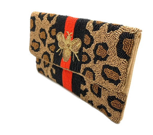 Leopard Bee Beaded Clutch