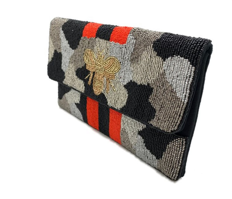Camo Bee Beaded Clutch