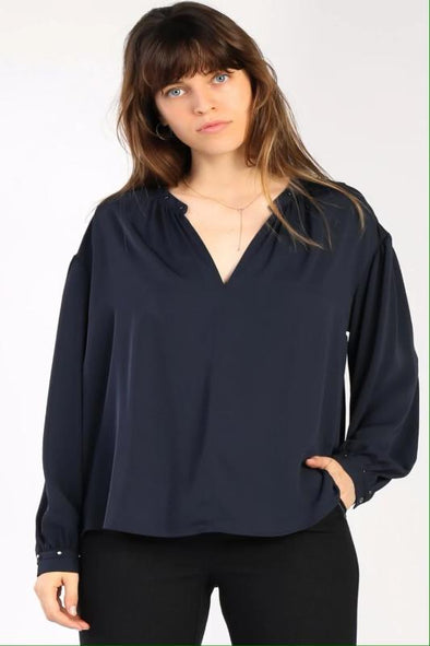 Split Navy Top