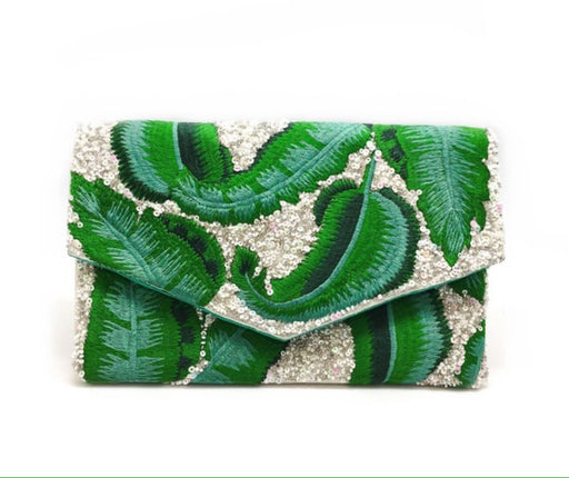 Banana Leaf Beaded Clutch
