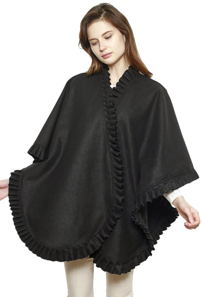 Ruffle Cape - Black