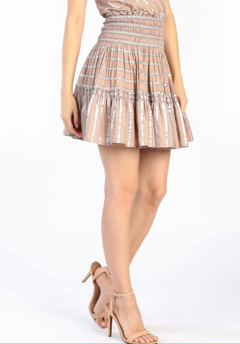 Metallic Striped Smocked Skirt
