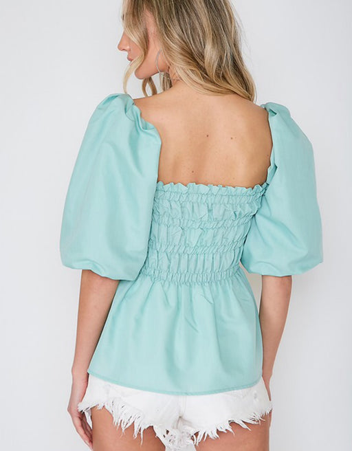 Mint Puff Sleeve Smocked Top