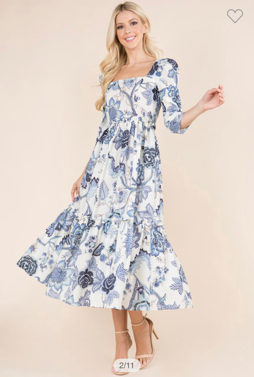 Blooming Blues Midi Dress