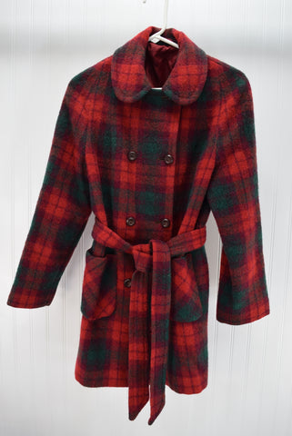Wool Mohair Long Jacket Car Coat Red Turquoise Plaid Scotland Made for sale Size M Vintage Retro
