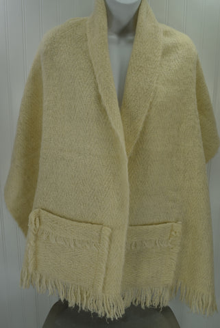 "Wool Scarf with Fringed Pockets Atelje Crding SWEDEN Ivory Wool Mohair Hand Woven 21"" X 66"""