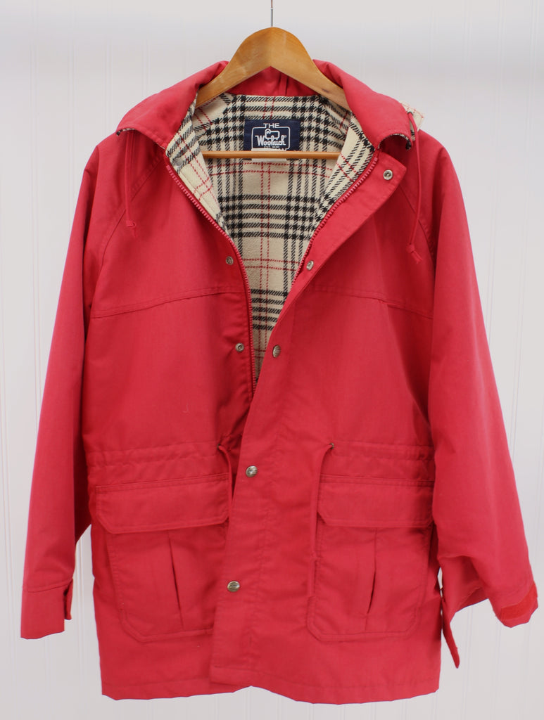 f3f5acb6c7180 Woolrich Woman Jacket Vintage Red Poplin Wool Blend Plaid Lining Size –  Patzi Blankets