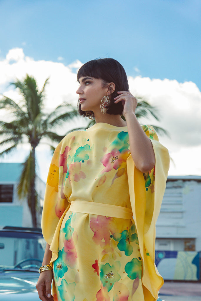 Yellow Hand-Painted Caftan