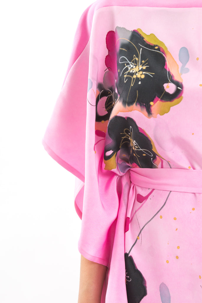 Pink Hand-Painted Caftan with Black Floral Print