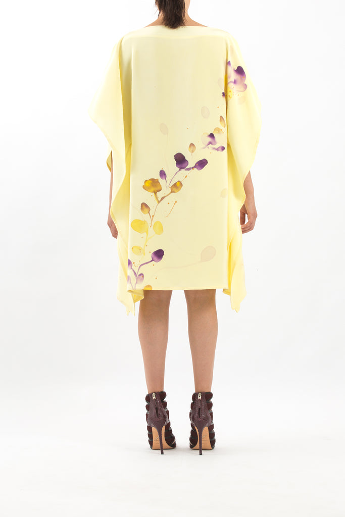 Yellow Hand-Painted Caftan with Purple Floral Print