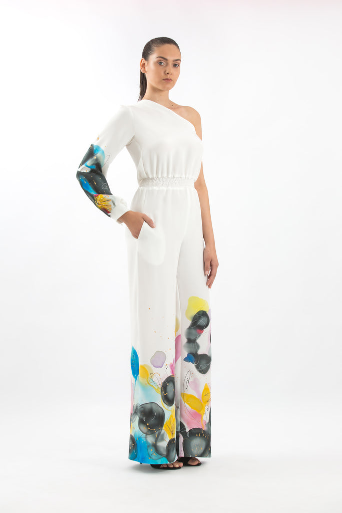 One-shoulder Hand-Painted Jumpsuit with Toned Floral Print