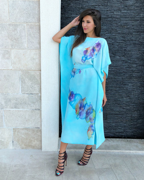 Aqua Blue Hand-Painted Caftan