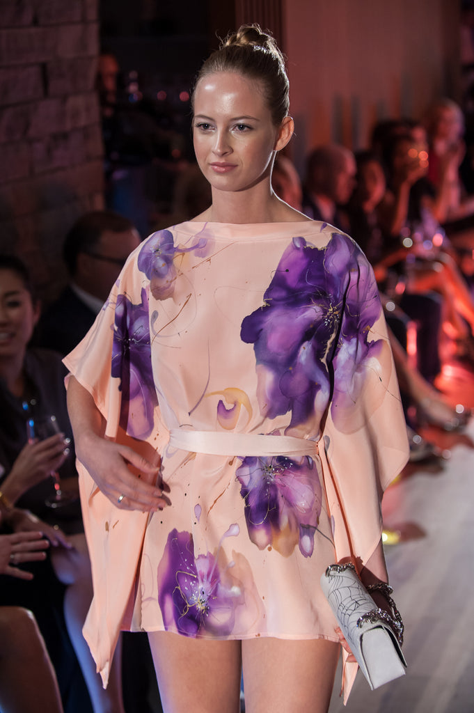 Peach Floral Hand-Painted Caftan