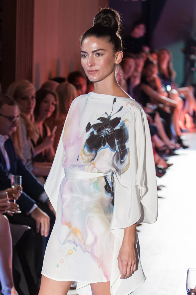White Floral Hand-Painted Caftan