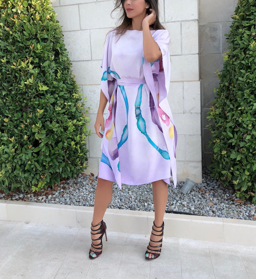 Lilac Hand-Painted Caftan