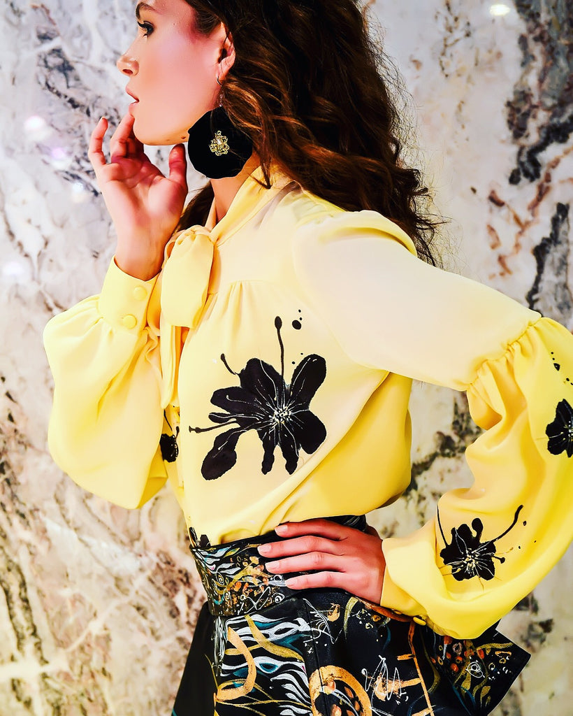 Canary Yellow Hand-Painted Blouse