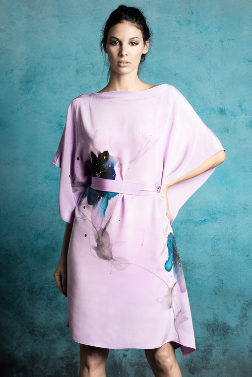 Lilac Blossom Hand-Painted Caftan