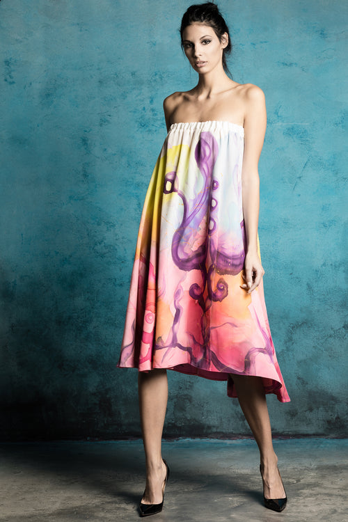 Marella Strapless Hand-Painted Dress