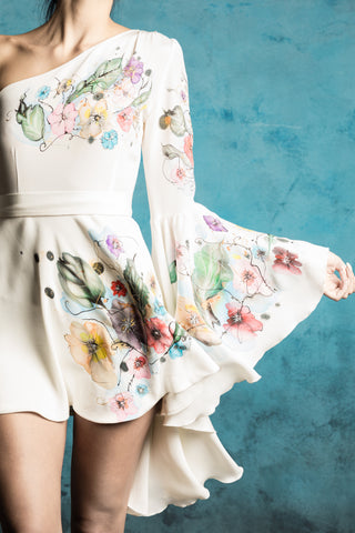 White Mini Hand-Painted Shirt Dress