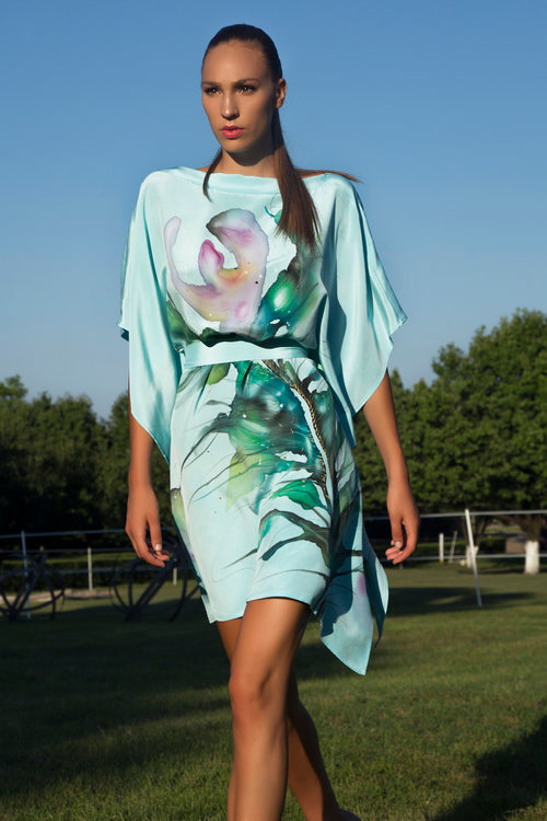 Blue Adria Peacock Hand-Painted Caftan