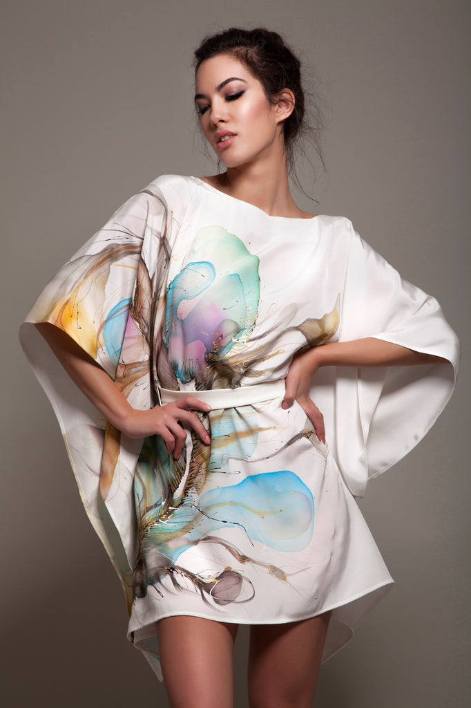 Adria Peacock Hand-Painted Caftan