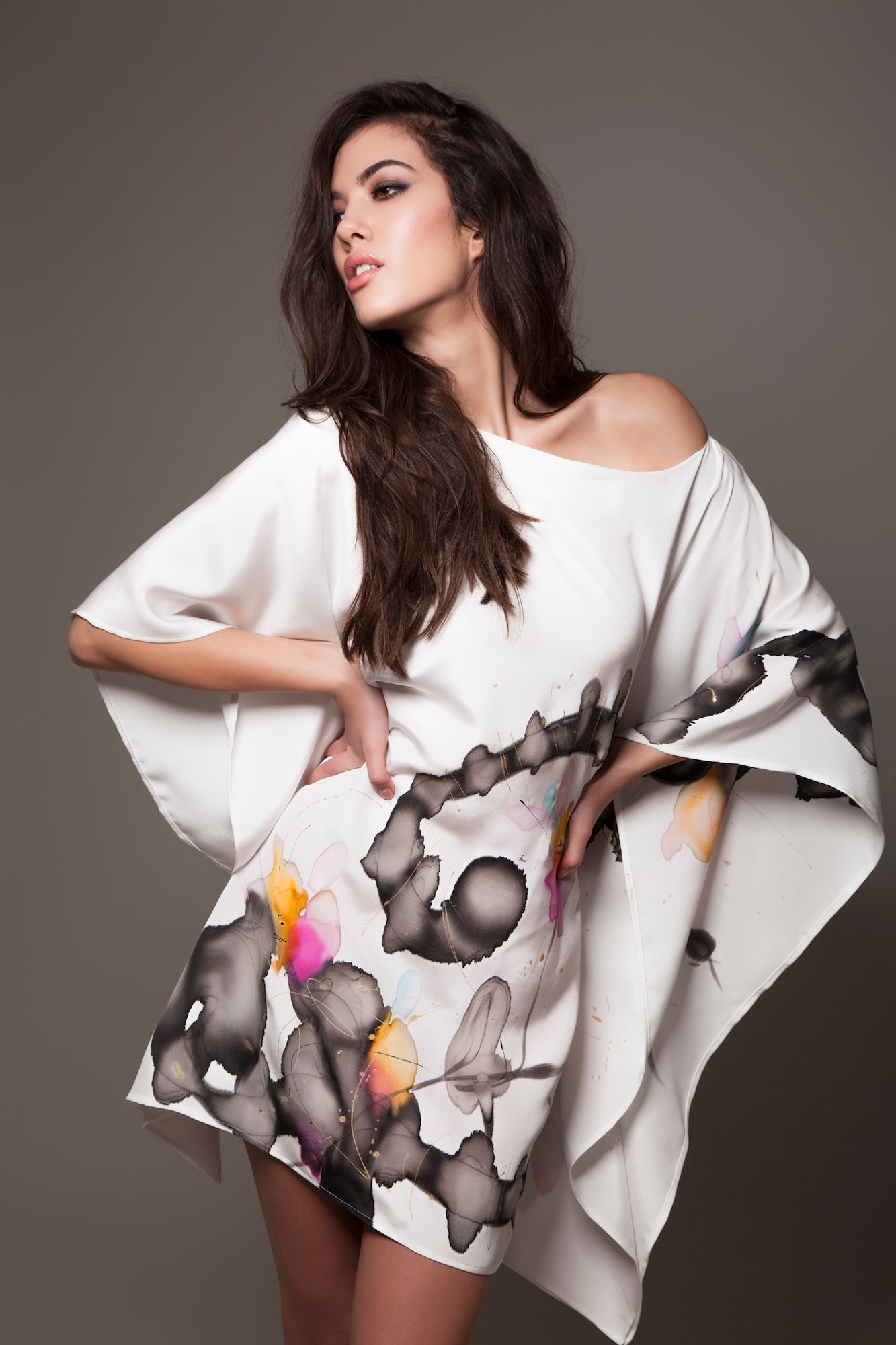 Floral Monochrome Hand-Painted Caftan