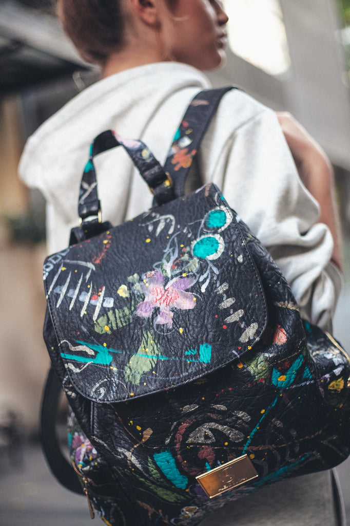 Floral Garden Hand-Painted Backpack