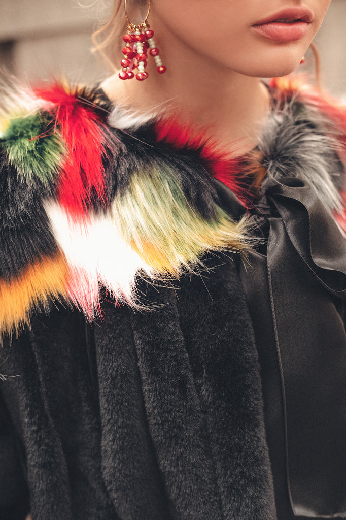 Classic Cut Black Faux-Fur Jacket with Colour Accents