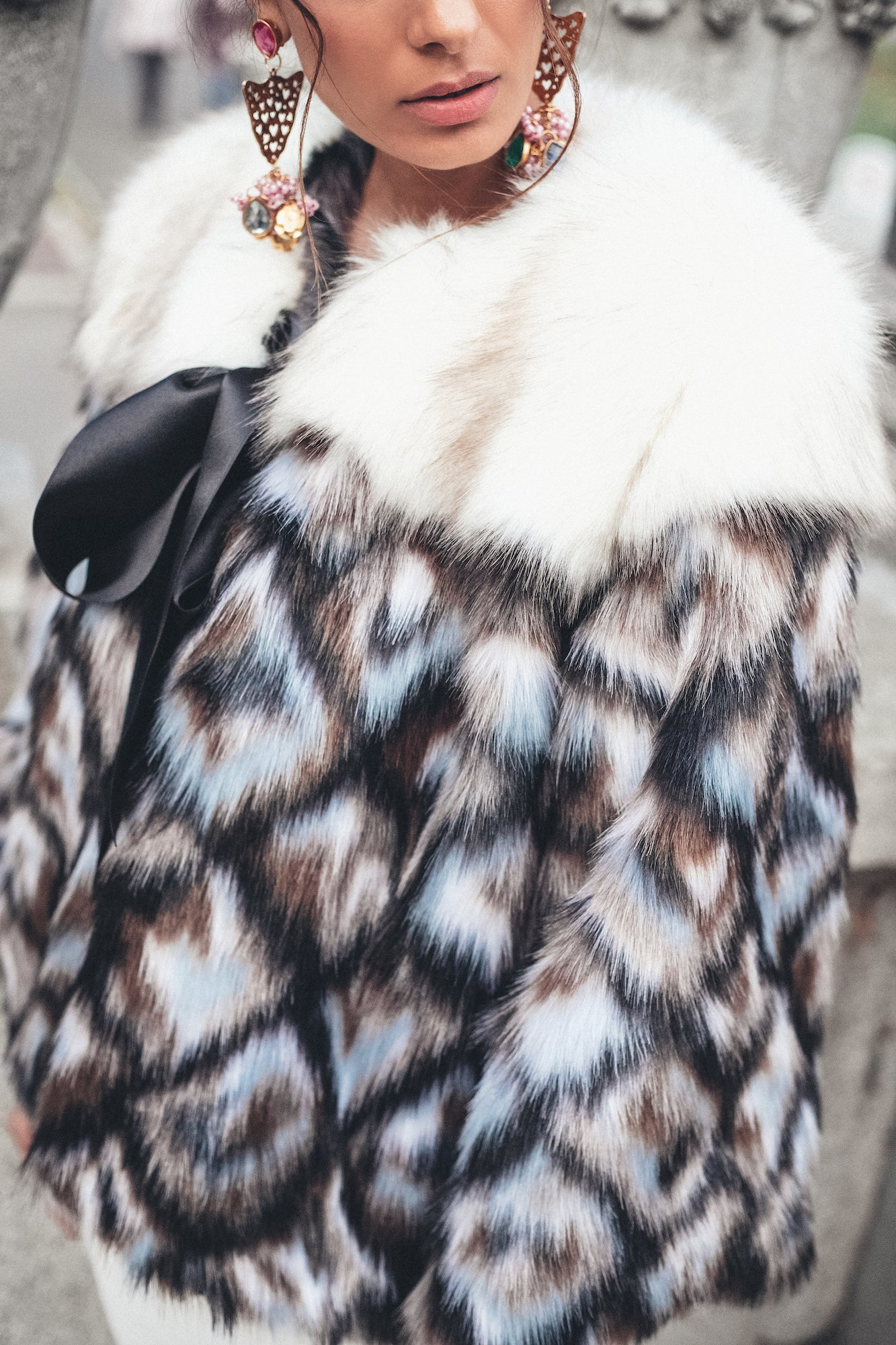 The Soft Blue Tone Classic Faux-Fur Coat