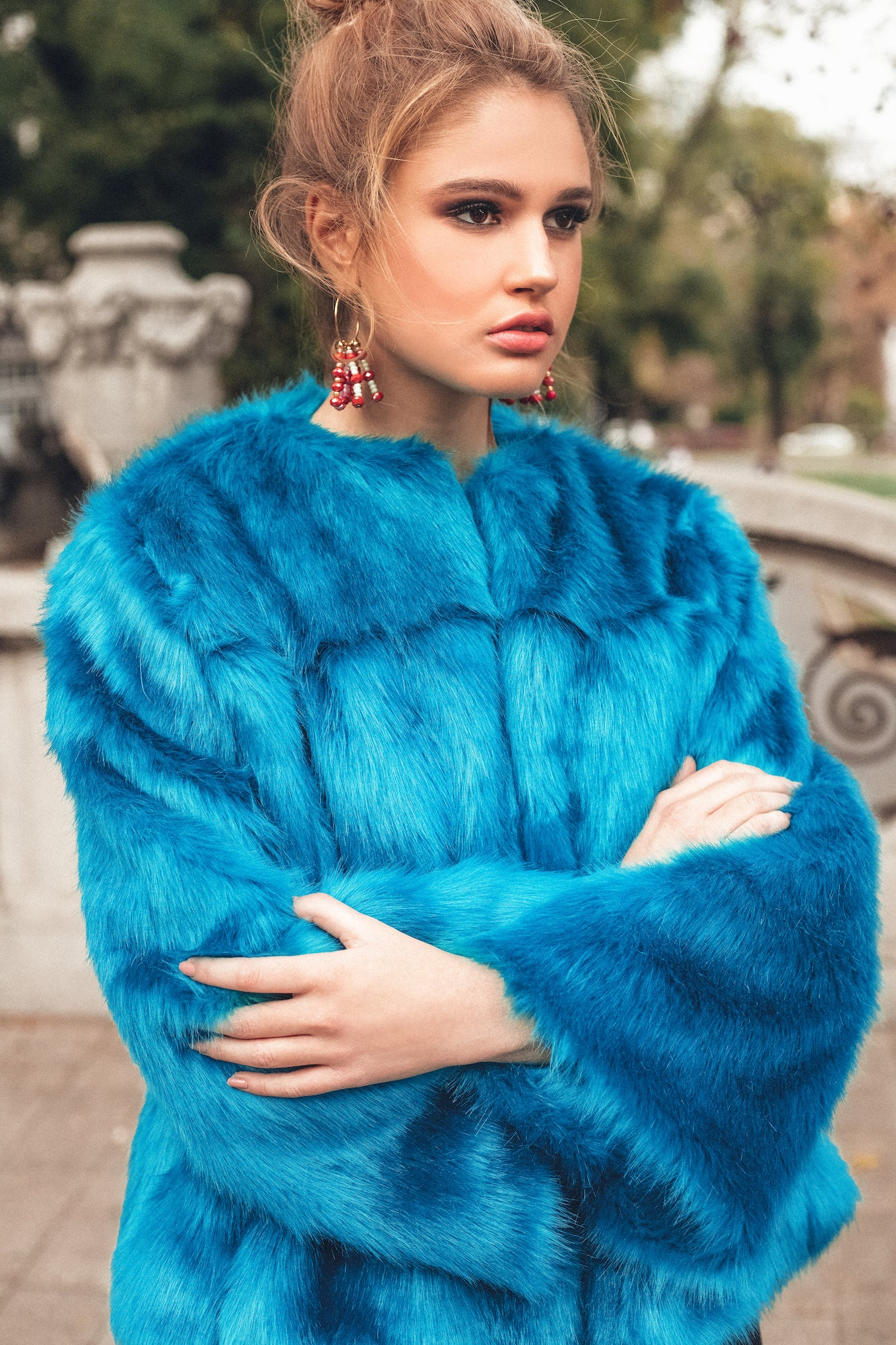 Bright Turquoise Classic Faux-Fur Jacket