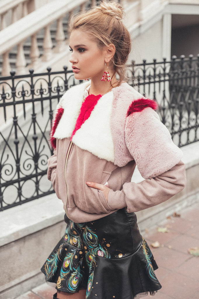 Lollipop Faux-Fur Bomber Jacket