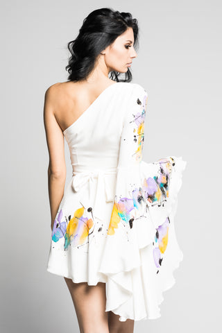 Bright Gardenia Hand-Painted Dress