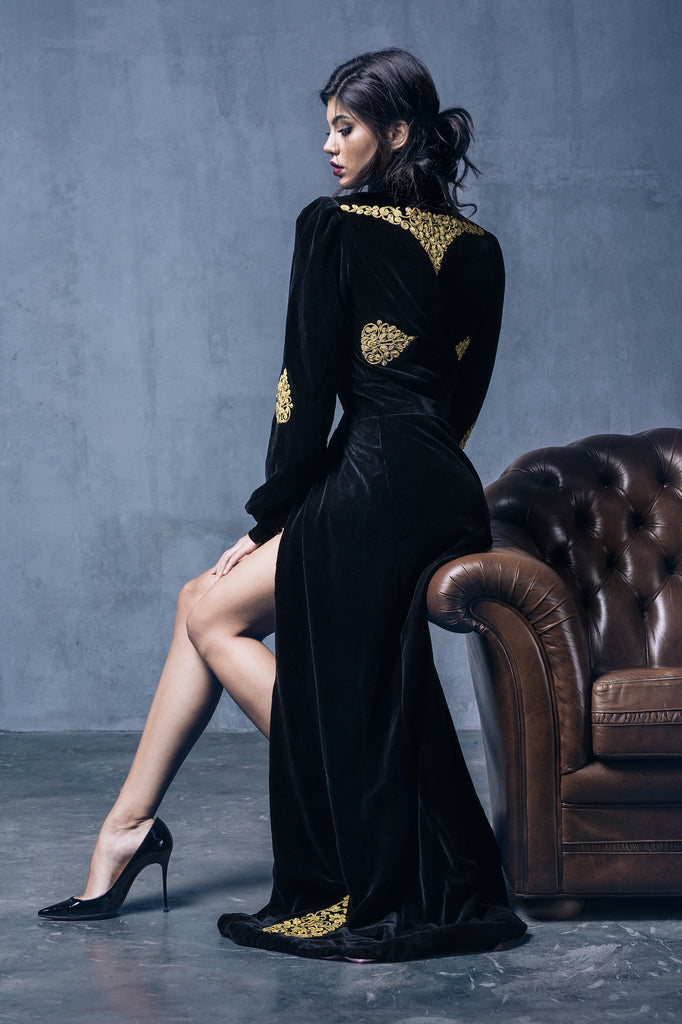 Michaela Hand-Embroidered Black Velvet Gown