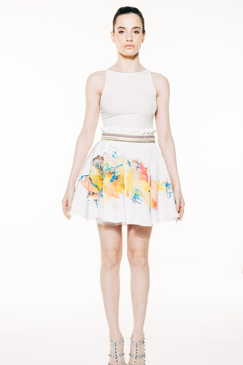 Silk Abstract Hand Painted Mini Skirt