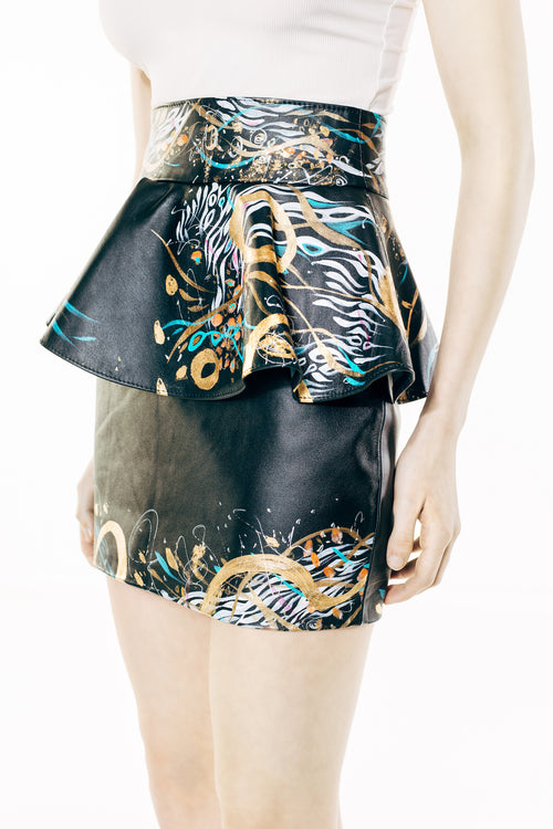 Black Hand-Painted Leather Skirt