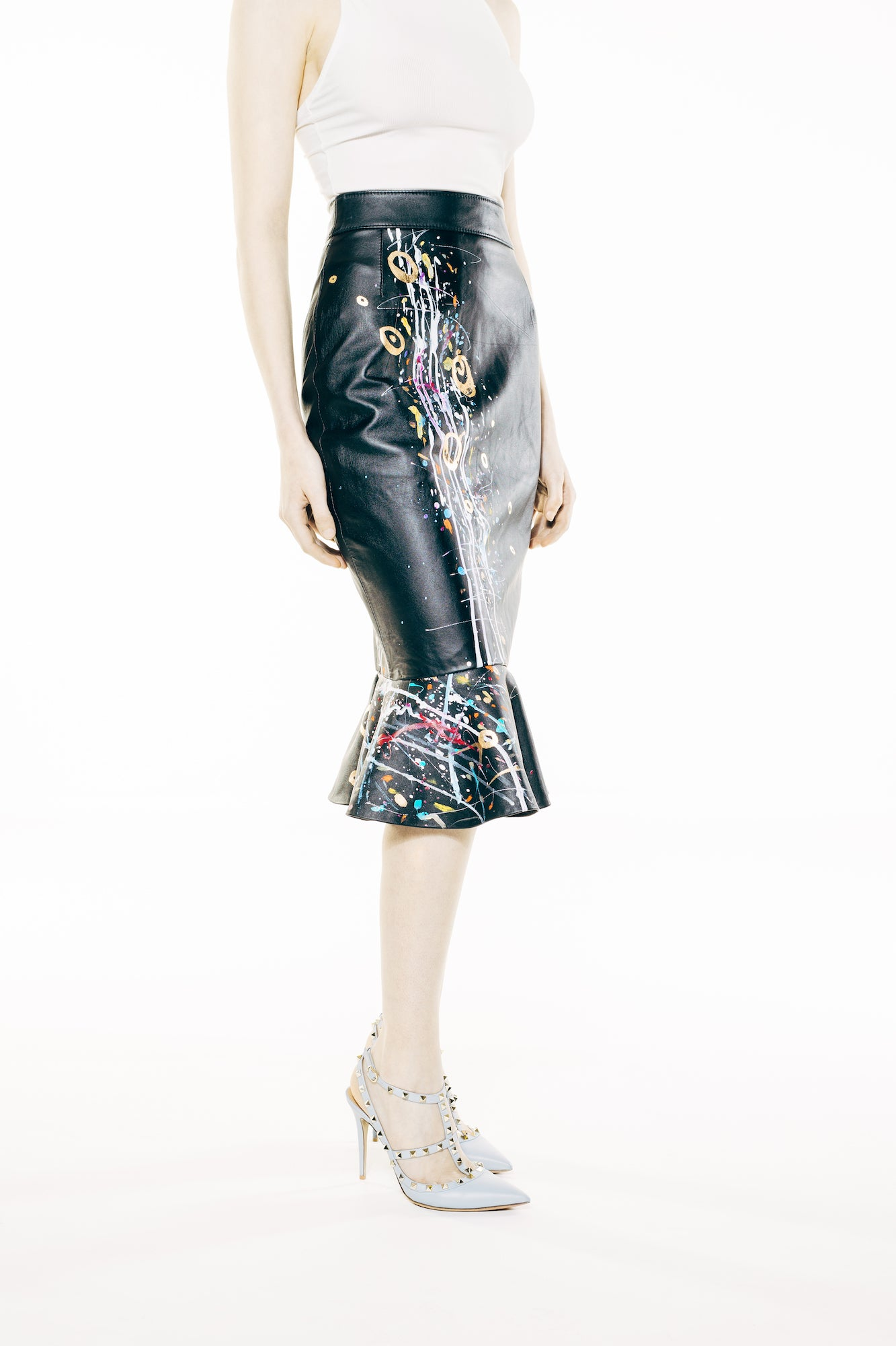 Black Hand-Painted Leather Knee-Length Skirt