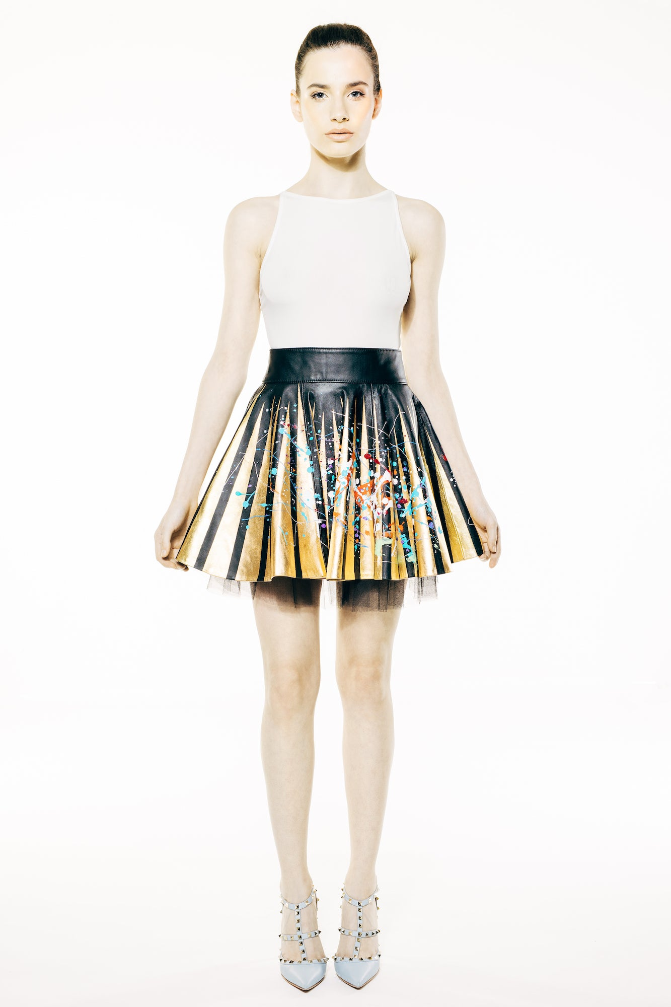 Black Mini Round Hand-Painted Flare Leather Skirt