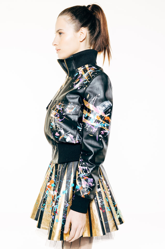 Black Leather Hand-Painted Bomber Jacket