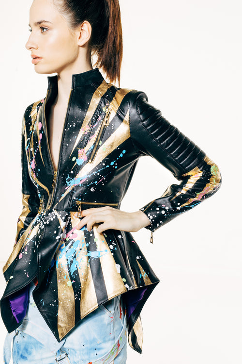 Gabriella Gold Hand-Painted Black Leather Jacket